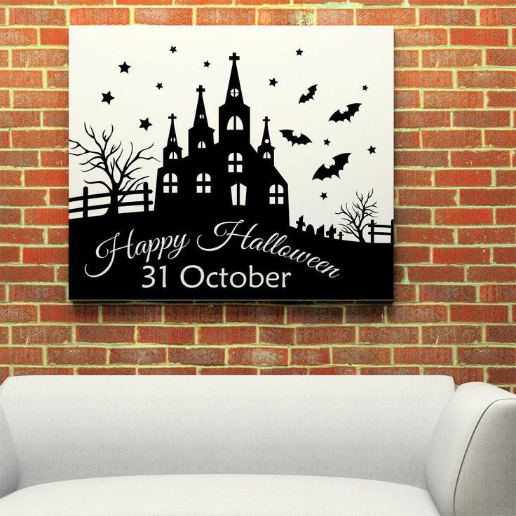 Happy Halloween Castle Bat Tree Wall Sticker Home Decoration Decal Decor MR808 #Stickalz