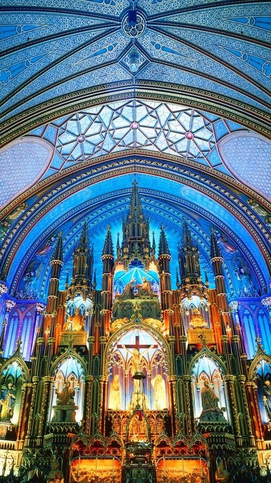 Notre-Dame Basilica, Montreal, Canada. Even more beautiful in person! Stained glass windows of the Sanctuary depict scenes from the religious history of Montreal. Barrel vaulted, tiled ceiling. The church also has a Casavant Frères pipe organ, dated 1891, which comprises four keyboards, 92 stops using electropneumatic action and an adjustable combination system, 7000 individual pipes and a pedal board. Photo: Incredible Pictures.