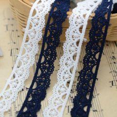 0.9元1米 花边辅料 米白藏蓝两色入水溶纯棉小花边 宽1.5厘米