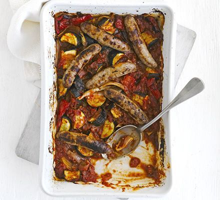 Oven-baked ratatouille & sausages. This looks really nice - I love ratatouille and I'm always trying to find new spins on it!