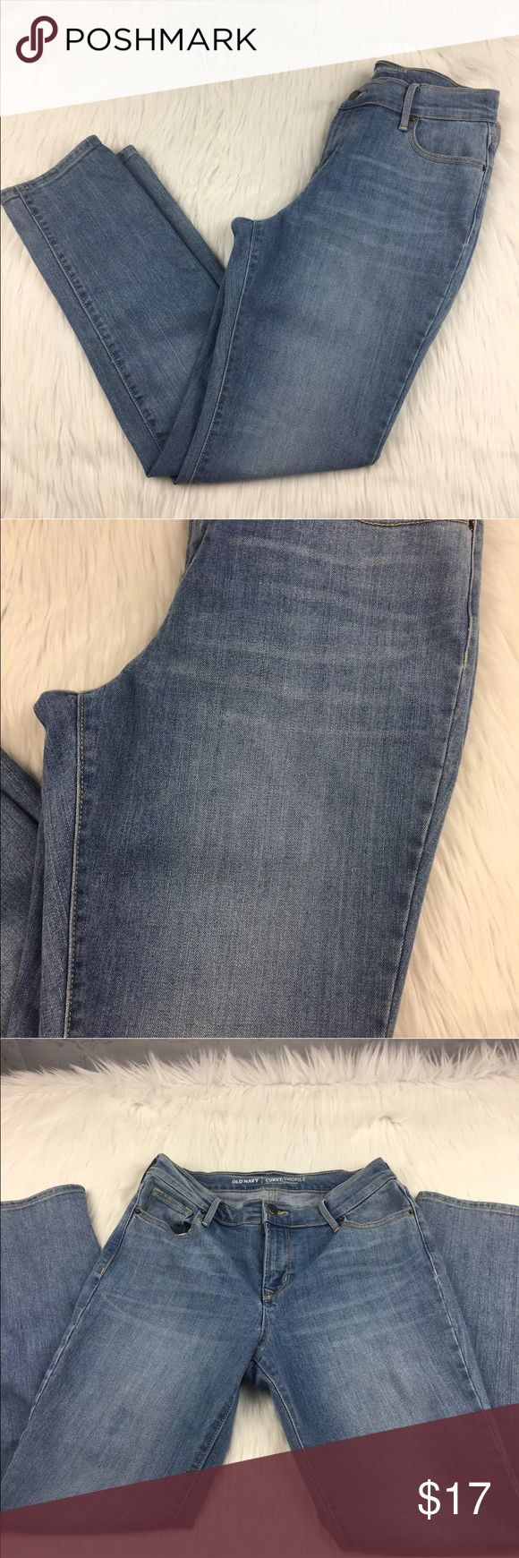 """Old Navy mid rise curvy jeans sz 4 Short Old Navy Mid Rise Curvy Light wash jeans Size 4 Short inseam- 29 waist laying flat- 14.5"""" 84% cotton, 14% polyester, 2% spandex Old Navy Jeans"""