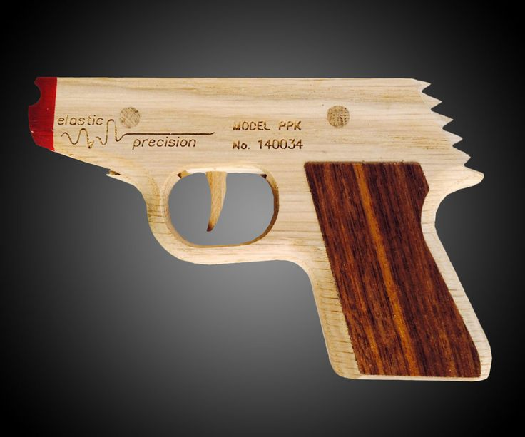 The name's Band. James Band.  Brent EuDaly's Etsy shop, Elastic Precision, features 5 rubber band gun interpretations of classic firing weapons, but the Model PPK, designed after James Bond's iconic Walther PPK handgun, is probably my favorite.