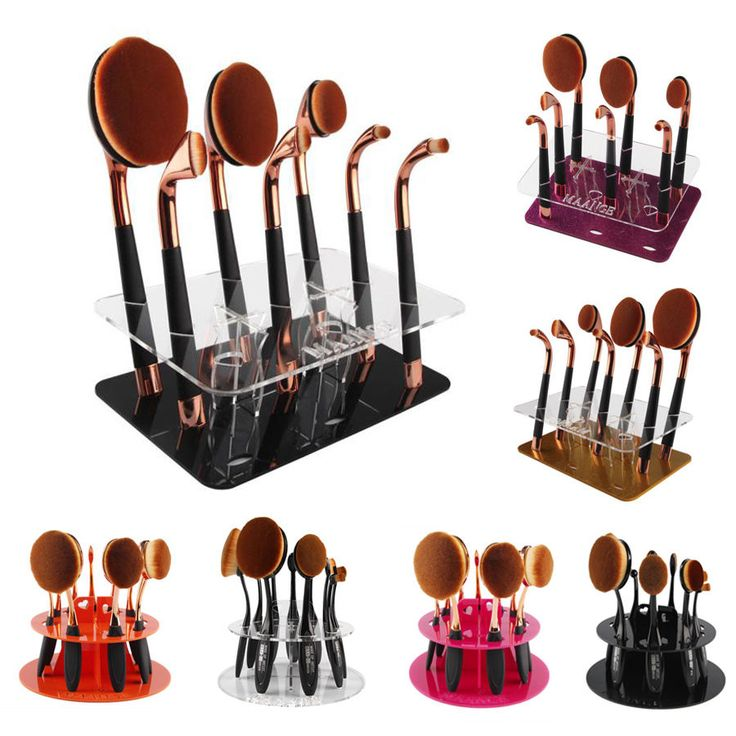 10Hole Oval Makeup Brush Holder Drying Rack Stand Organizer Cosmetic Shelf Tool #bessky_star