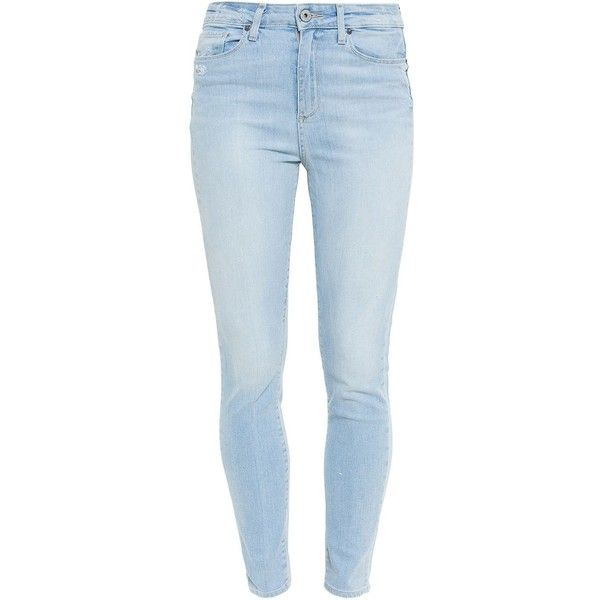 Paige Margot Ultra Skinny Jeans (£123) ❤ liked on Polyvore featuring jeans, bottoms, pants, blue, skinny leg jeans, skinny jeans, blue jeans, destroyed jeans and light wash skinny jeans