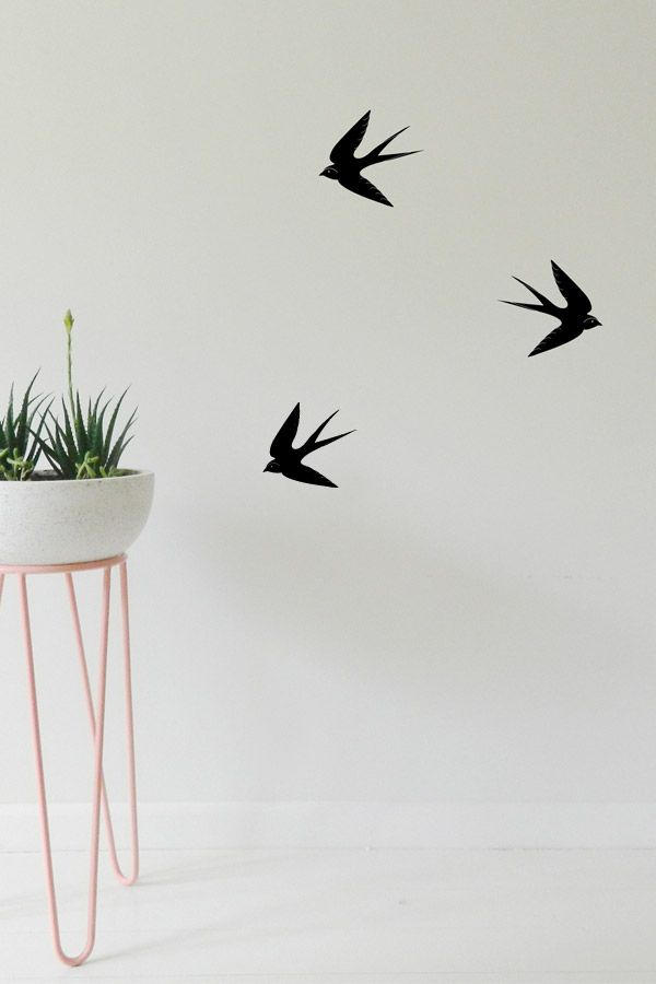 Bird wall decor that will look great in a lounge, bedroom or office. These swallows come in a set of three and are an easy wall to update your walls.  #wallstickers #birds #swallow #decor #diyhomedecor