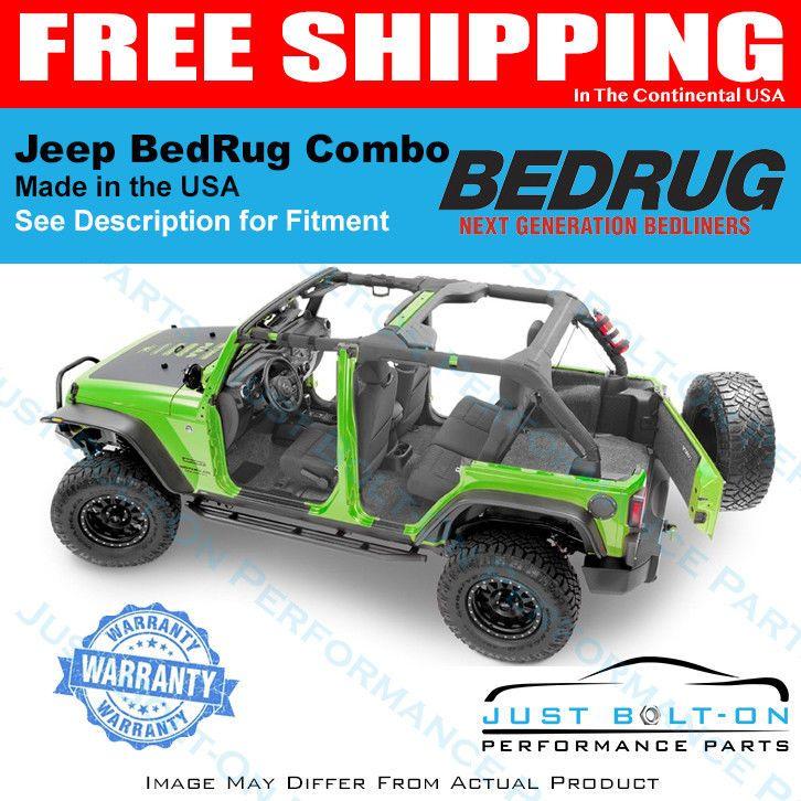 BedRug Jeep Kit JK UNLIMITED 4DR REAR 5PC CARGO KIT BedRug BRJK11R4 fits 11 INCLUDES TAILGATE /& TUB LINER
