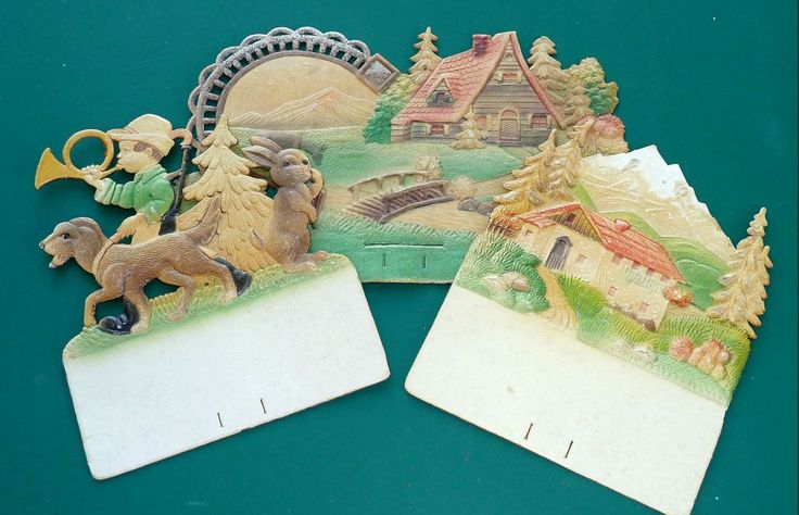 Vintage 3D Pressed Paper Compound Painted Scenes by SouthamptonCreations on Etsy