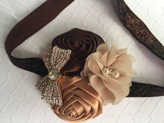 Baby Girl  headband , cream gold  and brown rosettes , big bow rhinestone,brown elastic headband.