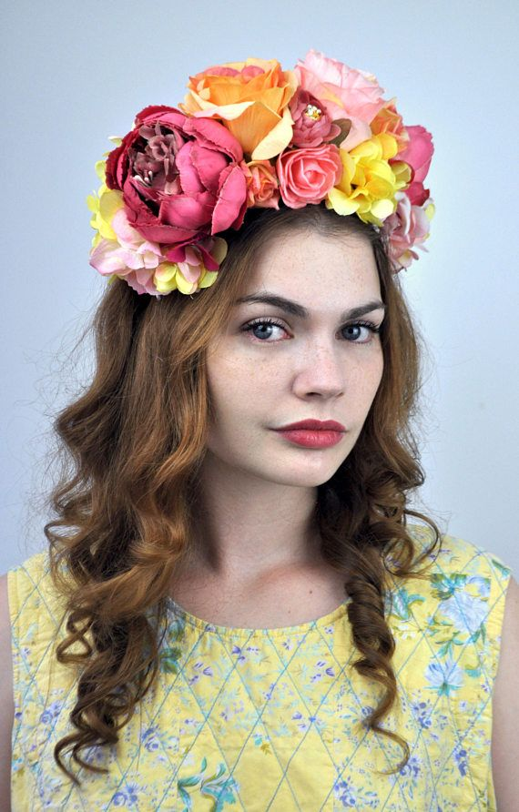 Betty - Colourful Flower Crown Headpiece in Sunset Shades of Pink ... b69c8439e30