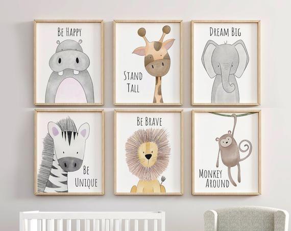 Safari Kinderzimmer Dekor Set, Tierkindergarten Drucke, Zitat Kindergarten Print, Peekaboo Kindergarten, Safari Print Set, Safari Kindergarten, neutrale Kindergarten