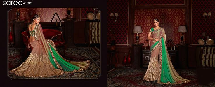 BEIGE AND GREEN CHIFFON SAREE WITH EMBROIDERY WORK