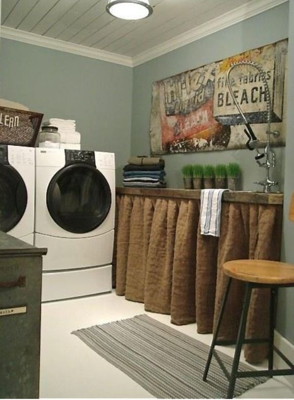 Love this laundry room with the burlap curtain However I want double windows behind the washer and drier