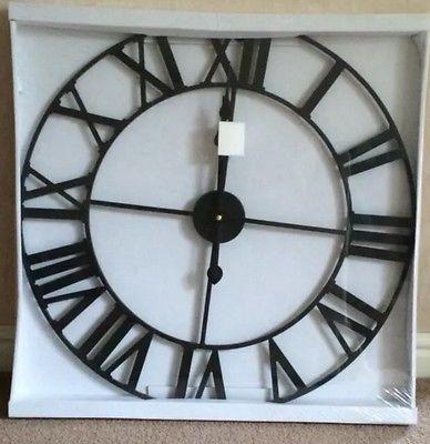 XL Black Metal Skeleton Roman Numeral Indoor/Garden Wall Clock 60cm Next Day Des