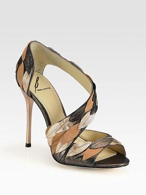 B Brian Atwood Lunetta Metallic Leather & Suede Leaf Sandals