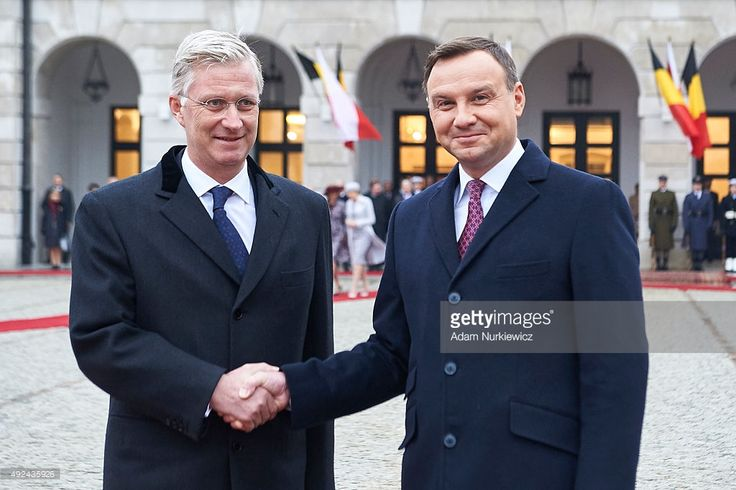 Belgium's King Philippe and Polish president Andrzej Duda