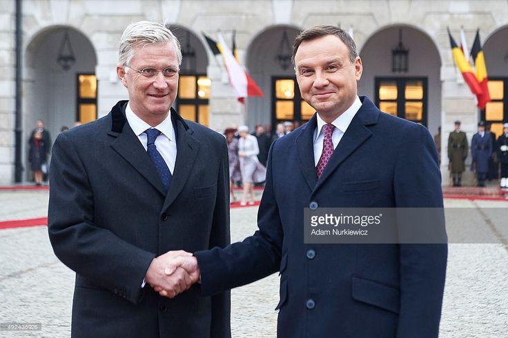 Belgium's King Philippe and Polish president Andrzej Duda