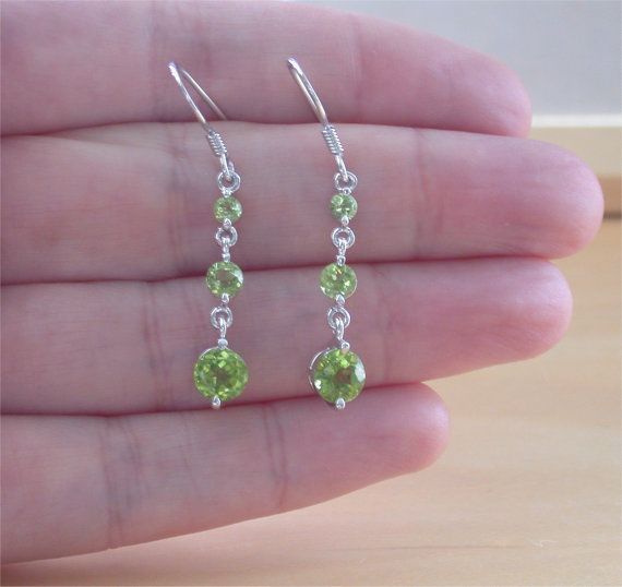 925 Peridot Drop Earrings/Peridot by joannasjewellerycouk on Etsy