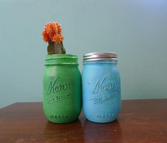 Painted mason jarsDecor Ideas, Ideas Handmade, Diy Painting, Mason Diy, Decorating Ideas, Diy Gift, Diy Decor, Mason Jars, Painting Mason