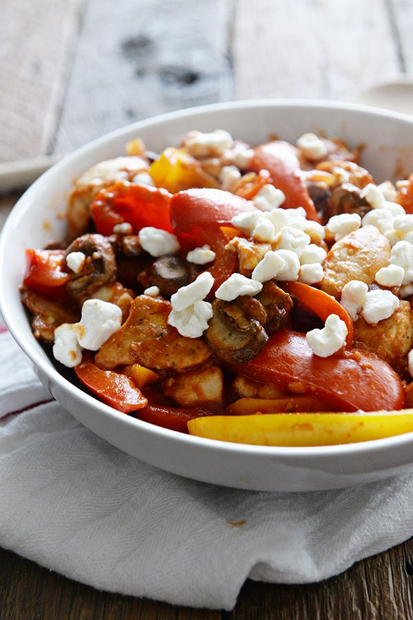Weight Watchers Chicken Saute with Peppers, Onions Mushrooms and Goat Cheese on dineanddish.net