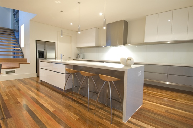 Fabulous kitchen  grey and white, timber floors, modern