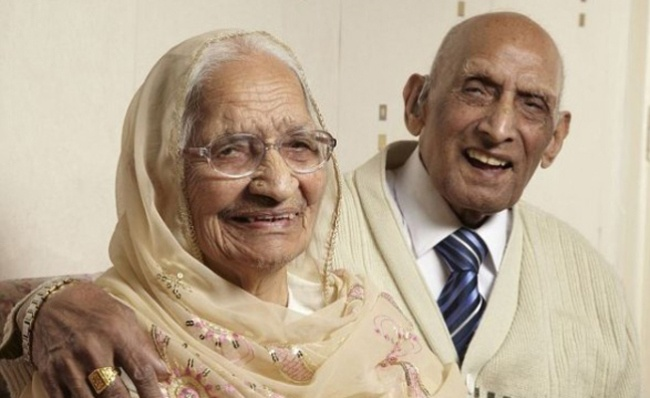 Longest Married Couple: Karam Chand, age 107, and wife Katari, 100, just celebrated 87 years of marriage making them the world's longest married couple