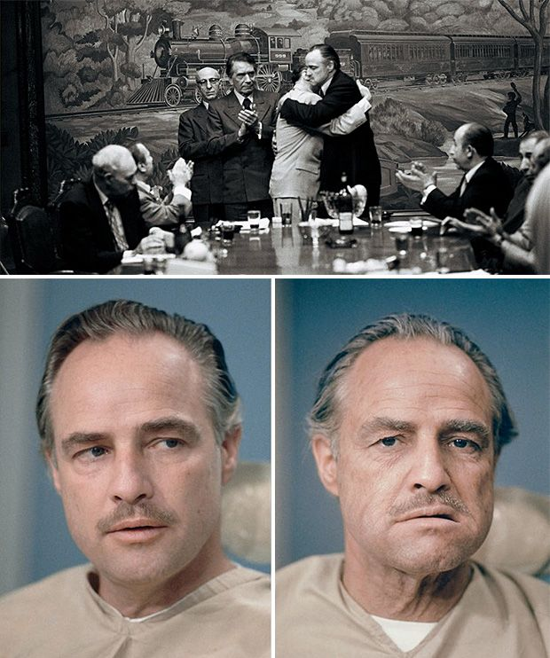 I know it's random but, just to tell the power of make up. Brando was only 47 when he shot The Godfather and thanks to his amazing work as and actor (plus cotton balls in jaws !) and the work of mua's, he looked nearly 70 !