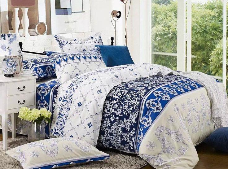 NEW Blue White Quilt/Doona/Duvet Cover Set - Queen/King/Super King Size 240A