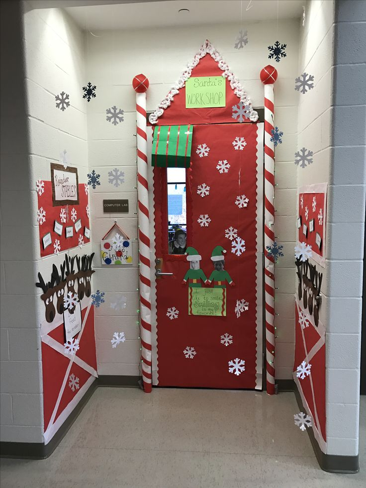 Classroom Xmas Decor ~ Christmas classroom door decorations santa s workshop