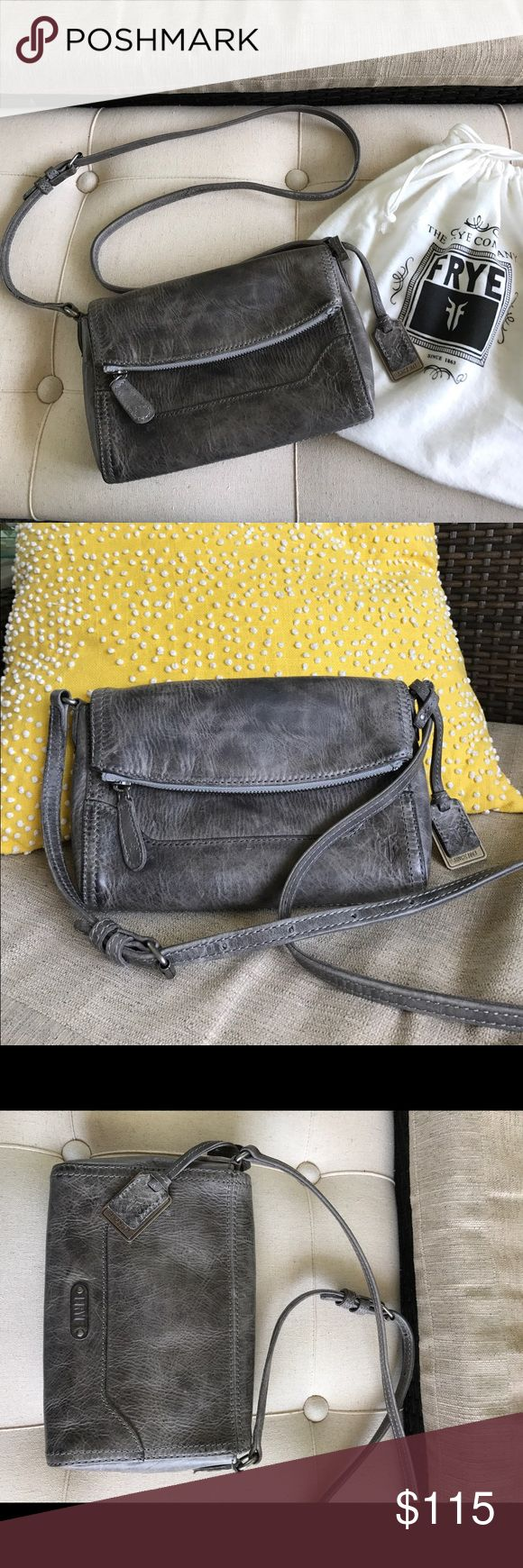 Frye NWOT Melissa Crossover Bag Gray Leather Purse I am unable to update my current listing so am trying to create a new listing!...Never carried Frye foldover gray leather crossbody or shoulder purse. Even smells new! Love the scent of good leather. Quality Frye. No issues! Comes with dust bag. Frye Bags Crossbody Bags