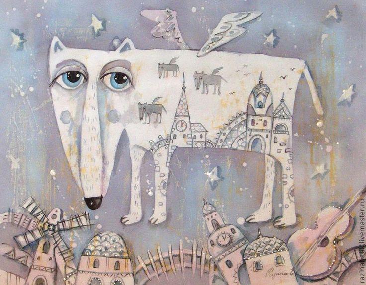 Купить Одинокий Волк-романтик (батик панно) - бледно-сиреневый, волк, сказка, картина