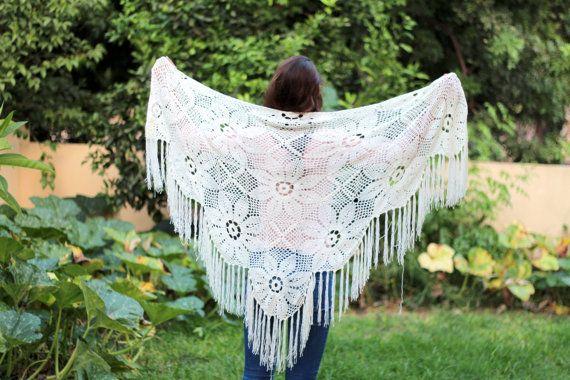 Crocheted Ivory-Off White-Cream Wraps ShawlEvening by ettygeller