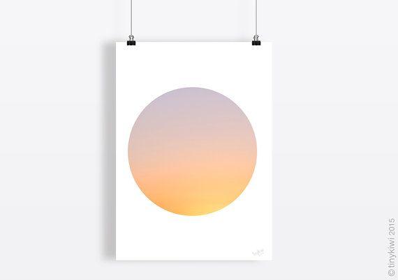 Sky art, Sunset print, Delicate colours, wall art, Instant download, Contemporay, Minimal art, Circle art Modern art print, Fine art print,