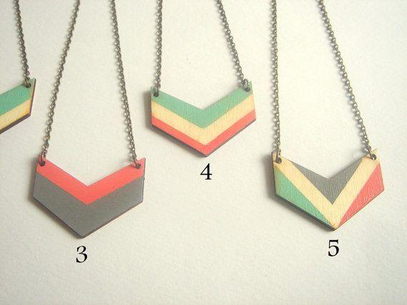 Chevron collier bois géométrique, main peinte bois collier, bijoux géométrique