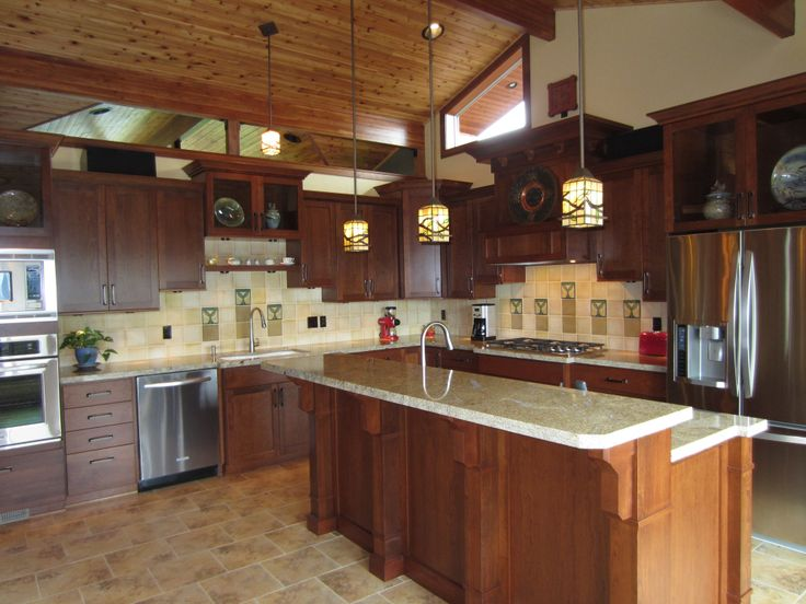The Kitchen Cabinets Are Custom Shaker Style Cherry Wood With Matching Crown Molding