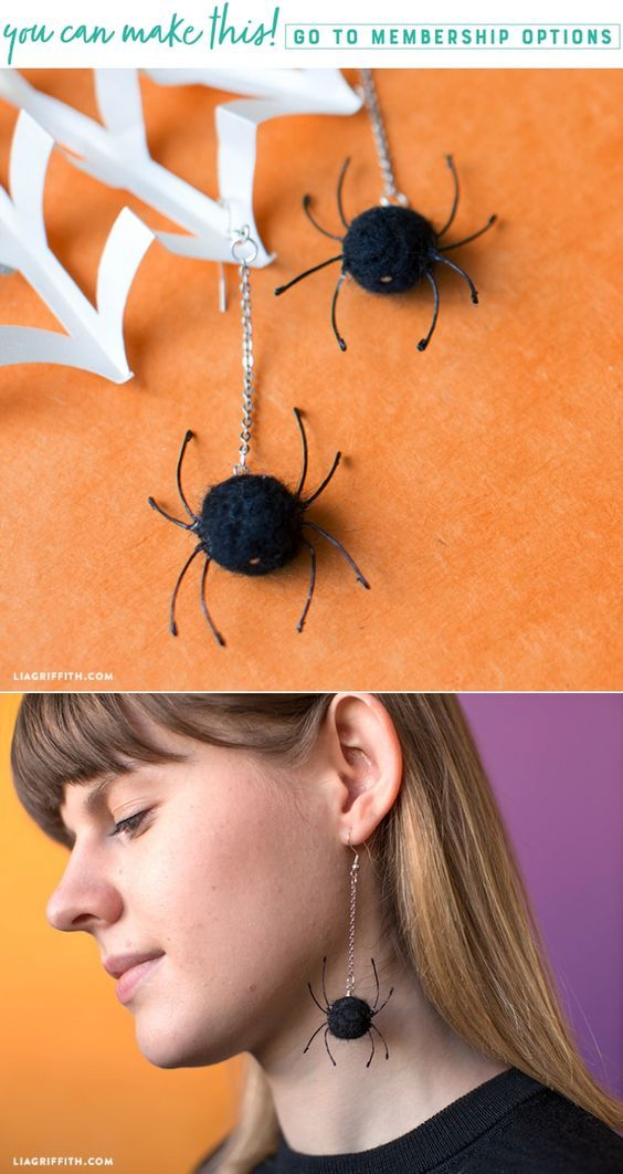 Felted Spider Earrings - Lia Griffith - www.liagriffith.com #diyhalloween #diyearrings #diyjewelry #needlefelting #felt #feltcute #diyinspiration #diyproject #diyideas #madewithlia