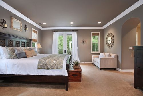 White crown molding darker grey walls bedroom sanctuary Master bedroom ceiling colors
