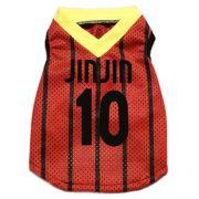 犬服サッカーユニホーム 【JinJin(ジンジン)】 JIN COOL サッカー タンク レッド 犬服サイズ(S-L) ダックスサイズ有り