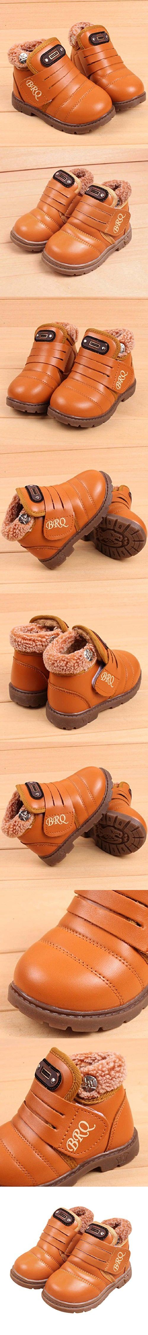 Fheaven Infant Toddler Baby Girls Boys Kids Winter Thick Snow Boots Leather Shoes for Age:1~6Age (US:6, Yellow)