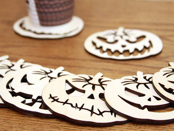 Set of 8 coasters for mugs. Garland pumpkin. Birch by huuhka