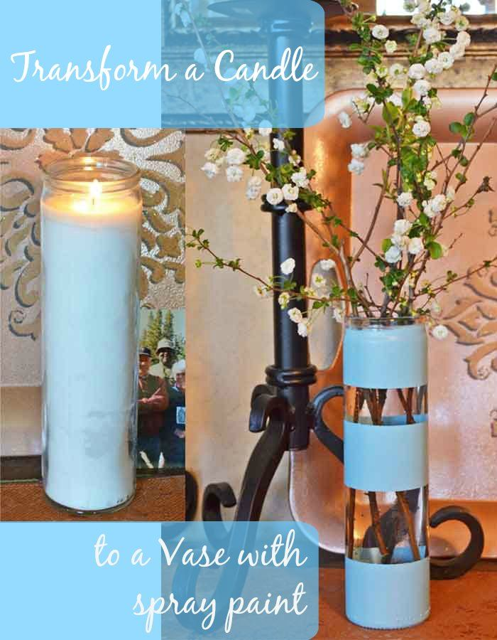Here's an easy way to remove candle wax from glass and then transform the glass into a vase with spray paint!