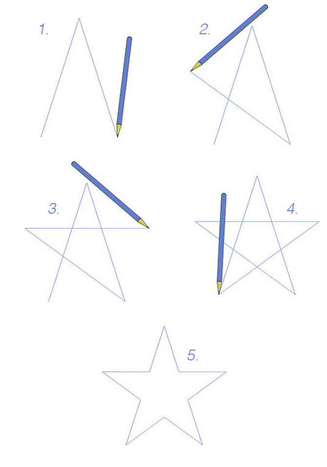 como dibujar estrellas de 5 puntas paso a paso - Buscar con Google