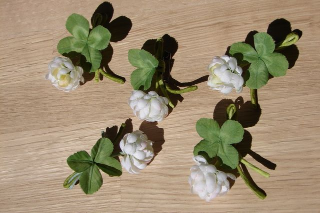 Orders production four-leaf clover brooch