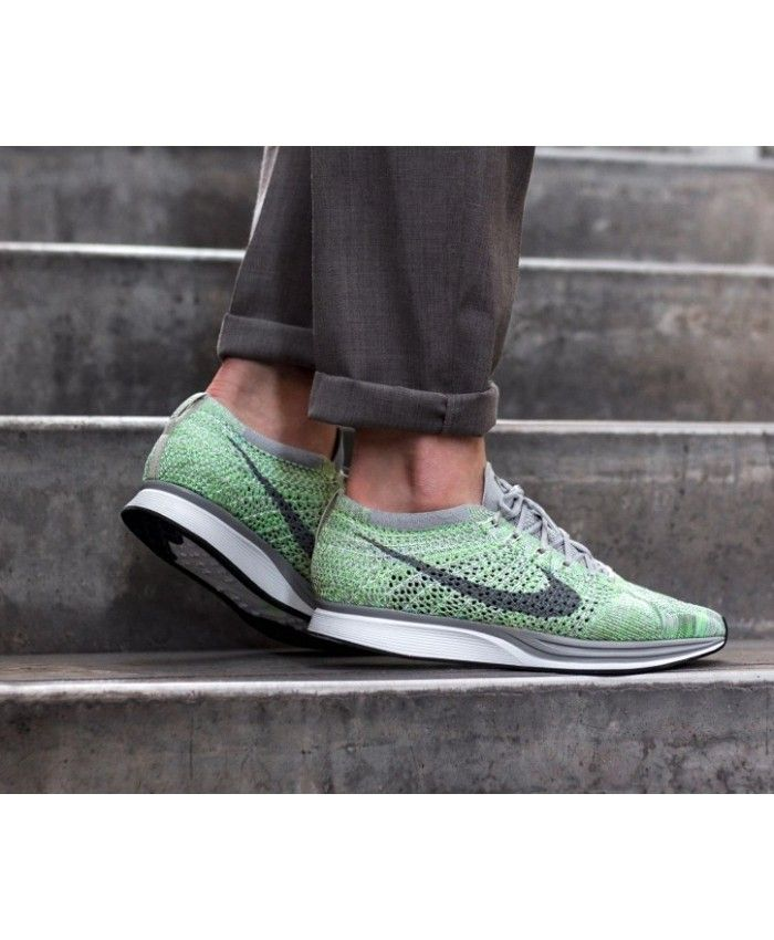 44cd78d298fba Nike Flyknit Racer Trainers In White Grey Ghost Green