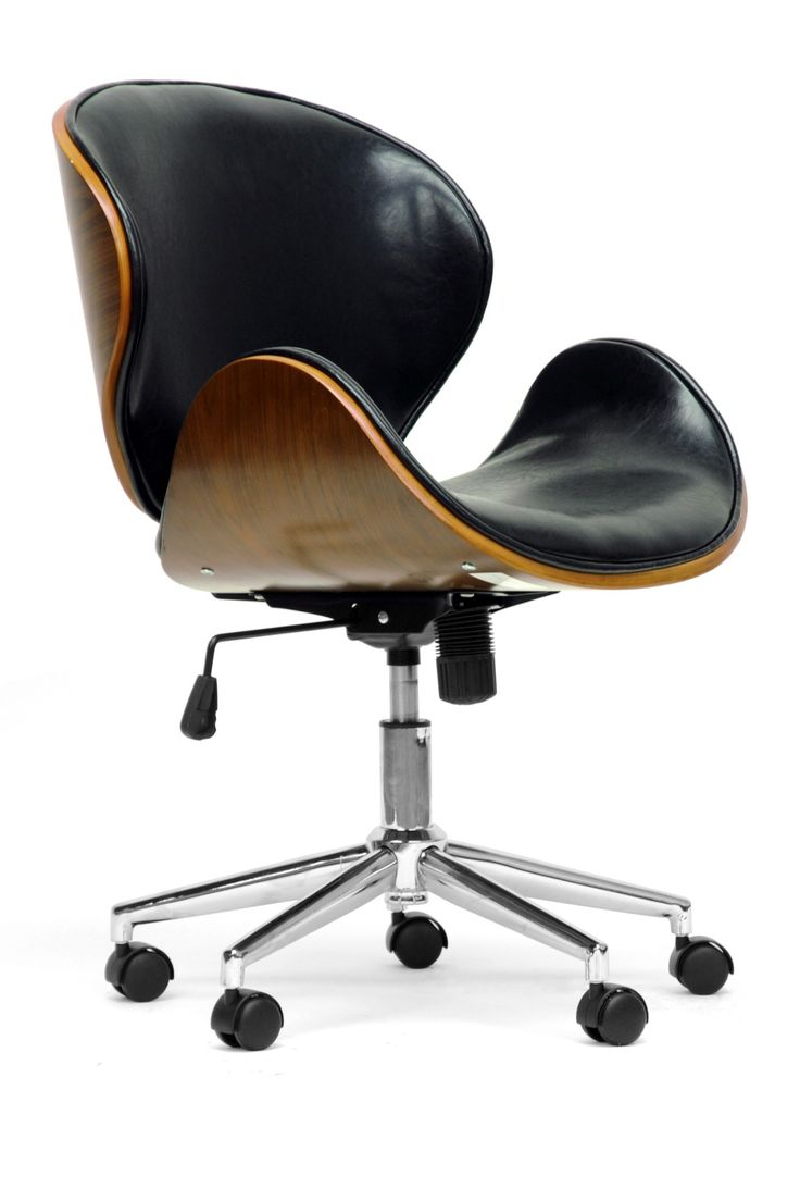 Chair cool wood desk chairs - Baxton Studio Bruce Walnut And Black Modern Office Chair Transitional Dining Chairs Baxton Studio