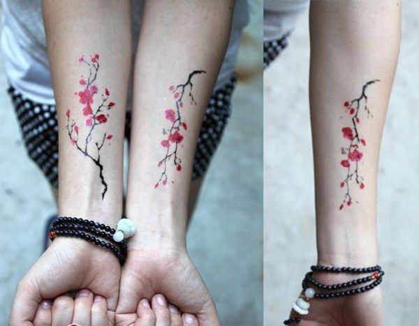 Cherry Blossom Tattoo Wrist for Sisters.