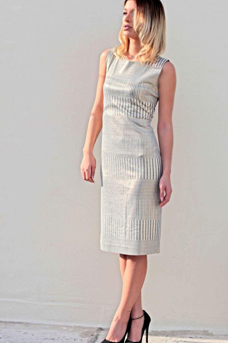 Ελαστικό midi φόρεμα, print χρυσό