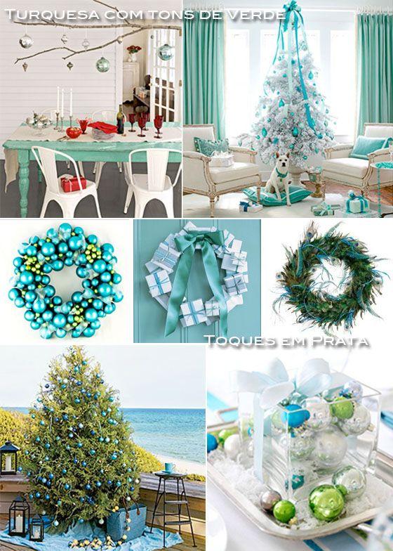 Decoração de natal em azul, verde branco e prateado!