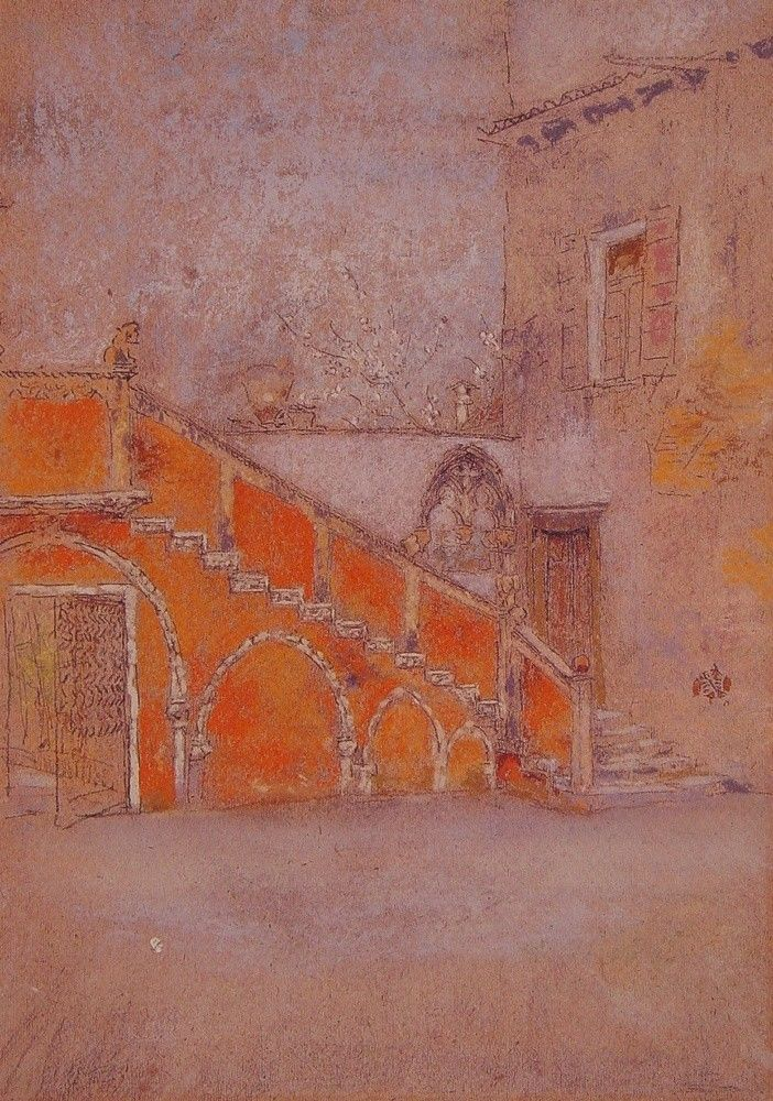 The Staircase Note in RedparJames McNeill Whistler   Size: 29.6x20.3 cm Medium: pastel, paper