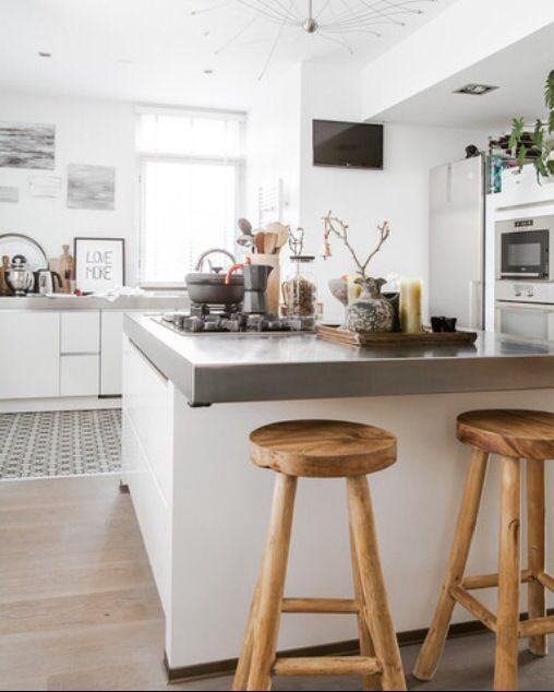 17 beste afbeeldingen over keuken op pinterest kasten open planken en moderne keukens - Lounge en keuken in dezelfde kamer ...