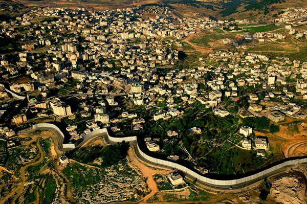 Separation Wall in the West Bank, Israel, aerial photo